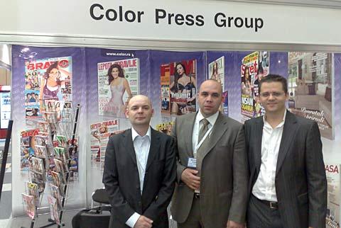 REDOVNI NA WMM: Bojan Vulin, Miroslav Vajda i Nikola Janković ispred štanda CPG u Moskvi